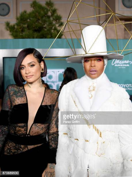 Kehlani and host Erykah Badu attend the 2017 Soul Train Awards presented by BET at the Orleans Arena on November 5 2017 in Las Vegas Nevada