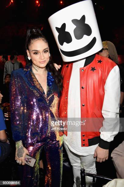 Kehlani and Marshmello attend the 2018 iHeartRadio Music Awards which broadcasted live on TBS TNT and truTV at The Forum on March 11 2018 in...