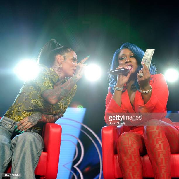 Kehlani and Megan Thee Stallion speak onstage during Beautycon Festival Los Angeles 2019 at Los Angeles Convention Center on August 11 2019 in Los...