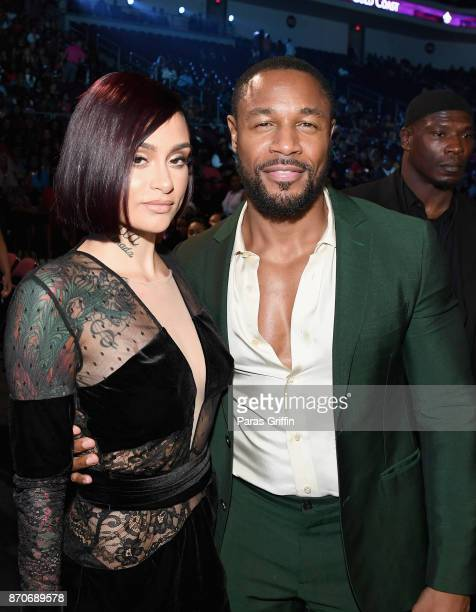 Kehlani and Tank attend the 2017 Soul Train Awards presented by BET at the Orleans Arena on November 5 2017 in Las Vegas Nevada