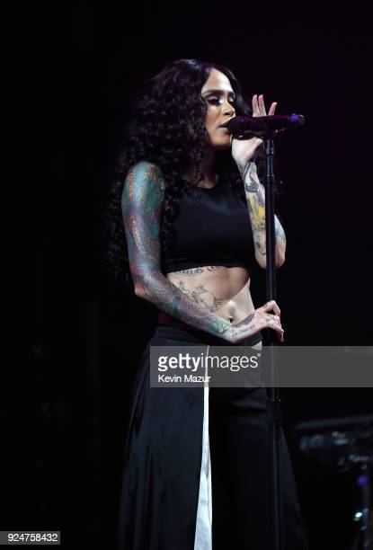 Kehlani performs onstage at Demi Lovato Tell Me You Love Me World Tour Opener at Viejas Arena at Aztec Bowl San Diego State University on February 26...