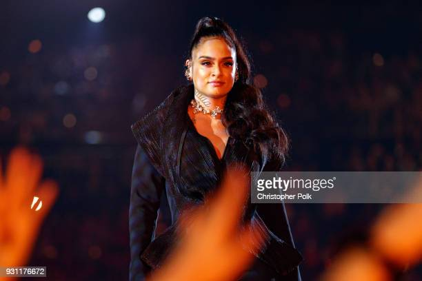 Kehlani performs onstage during the 2018 iHeartRadio Music Awards which broadcasted live on TBS TNT and truTV at The Forum on March 11 2018 in...