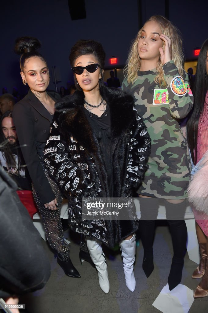 Kehlani, recording artist Cardi B and model Jasmine Sanders attend the Jeremy Scott front row during New York Fashion Week: The Shows at Gallery I at Spring Studios on February 8, 2018 in New York City.