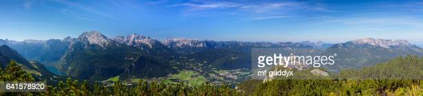 kehlstein with kehlsteinhaus, panoramic view over berchtesgaden, 55mpx - bavaria stock pictures, royalty-free photos & images