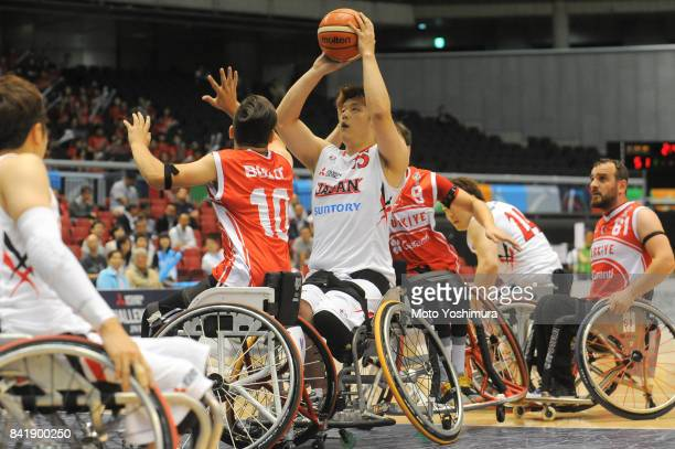 Kei Akita of Japan in action during the Wheelchair Basketball World Challenge Cup third place match between Turkey and Japan at the Tokyo...