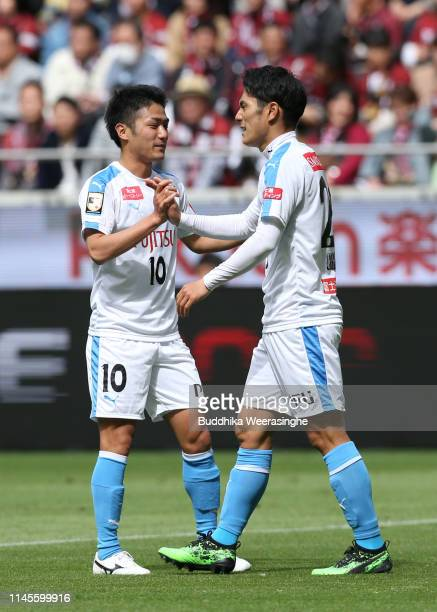 Kei Chinen of Kawasaki Frontale celebrate scores his side's second goal with team mate Ryota Oshima of Kawasaki Frontale during the JLeague J1 match...