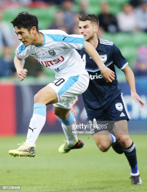 Kei Chinen of Kawasaki Frontale kicks at goal during the AFC Asian Champions League match between the Melbourne Victory and Kawasaki Frontale at AAMI...