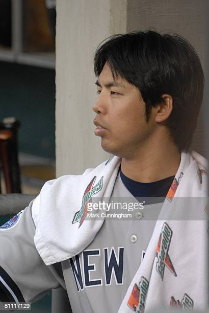 Kei Igawa of the New York Yankees looks on during the game against the Detroit Tigers at Comerica Park in Detroit Michigan on May 9 2008 The Tigers...