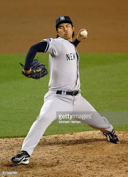 Kei Igawa of the New York Yankees pitches against the New York Mets at Shea Stadium on June 27 2008 in the Flushing neighborhood of the Queens...