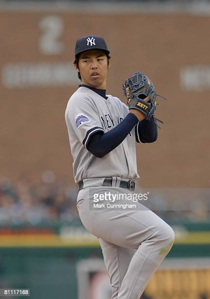 Kei Igawa of the New York Yankees pitches during the game against the Detroit Tigers at Comerica Park in Detroit Michigan on May 9 2008 The Tigers...