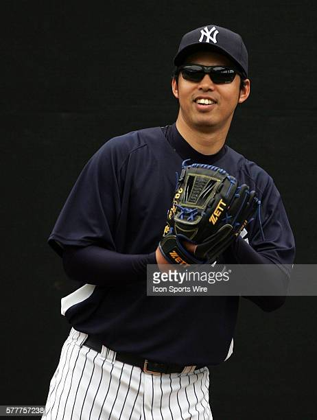 Kei Igawa of the New York Yankees throws in the bullpen during the spring training practice at George Steinbrenner Field in Tampa Florida