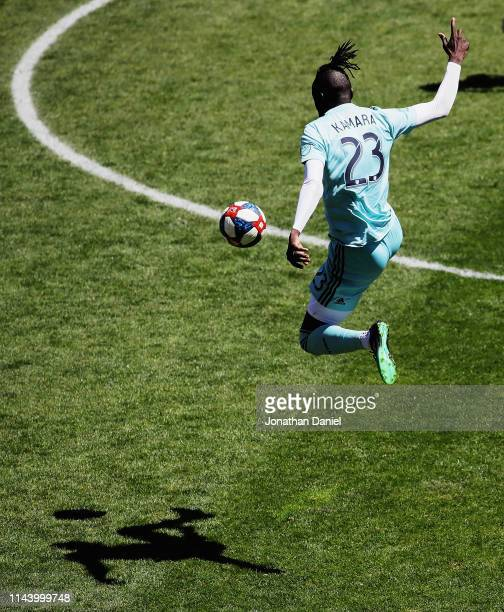Kei Kamara of Colorado Rapids leaps to control the ball against the Chicago Fire at SeatGeek Stadium on April 20, 2019 in Bridgeview, Illinois. The...