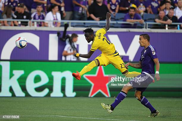 Kei Kamara of Columbus Crew shoots the ball during a MLS soccer match between the Columbus Crew and the Orlando City SC at the Orlando Citrus Bowl on...