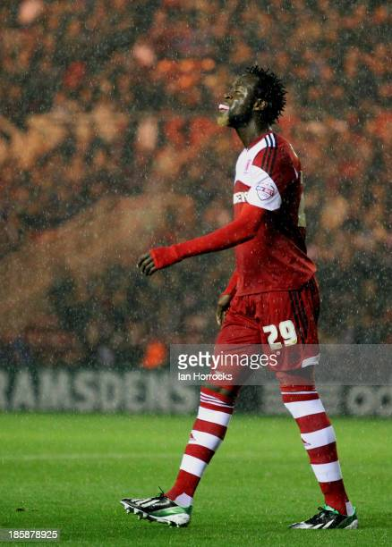 Kei Kamara of Middlesbruogh laughs after his miss during the Sky Bet Championship game between Middlesbrough and Doncaster Rovers at the Riverside...