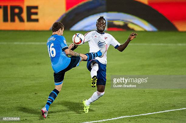 Kei Kamara of MLS AllStars is defended by Kieran Trippier of Tottenham Hotspur during the 2015 ATT Major League Soccer AllStar game at Dick's...