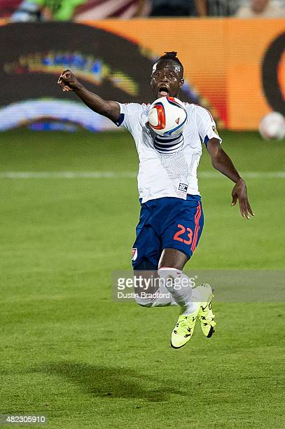 Kei Kamara of MLS AllStars traps the ball during the 2015 ATT Major League Soccer AllStar game against the Tottenham Hotspur at Dick's Sporting Goods...