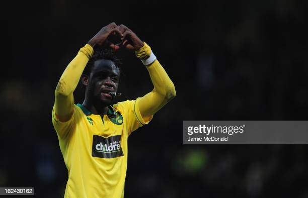 Kei Kamara of Norwich City celebrates victory during the Barclays Premier League match between Norwich City and Everton at Carrow Road on February 23...