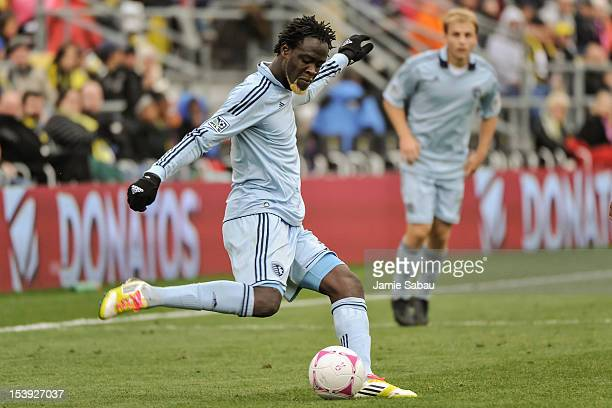 Kei Kamara of Sporting Kansas City controls the ball against the Columbus Crew on October 7 2012 at Crew Stadium in Columbus Ohio