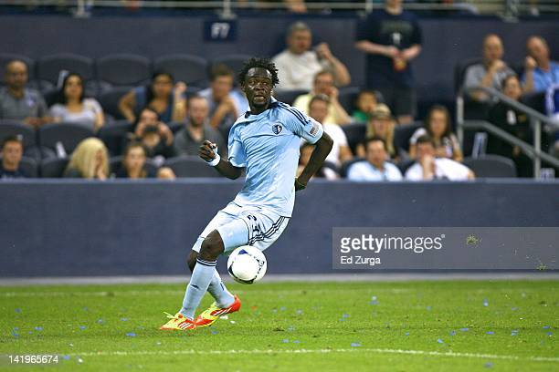 Kei Kamara of Sporting Kansas City works the ball against FC Dallas at Livestrong Sporting Park on March 25 2012 in Kansas City Kansas