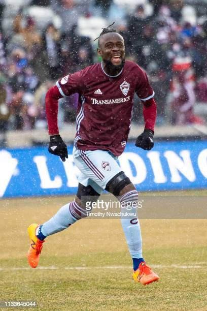 Kei Kamara of the Colorado Rapids celebrates scoring a goal during the first half against the Portland Timbers at Dick's Sporting Goods Park on March...