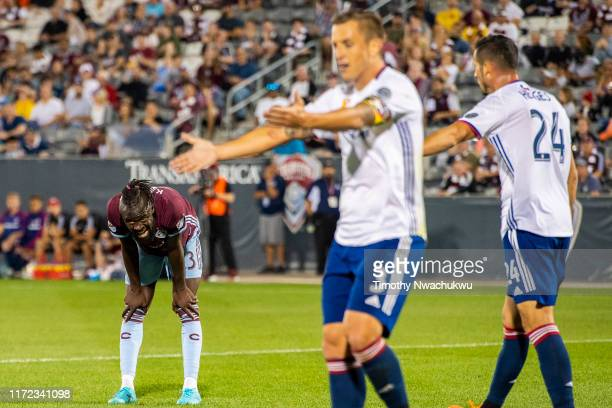 Kei Kamara of the Colorado Rapids left catches his breath following a run against FC Dallas at Dick's Sporting Goods Park on September 29 2019 in...
