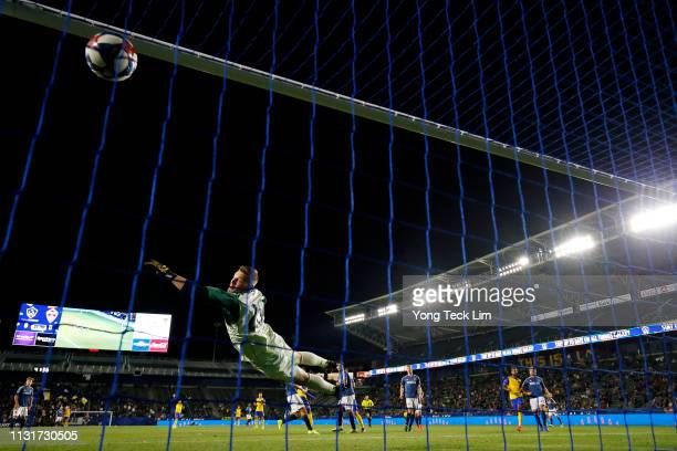 Kei Kamara of the Colorado Rapids scores a goal past Matt Lampson of the Los Angeles Galaxy during the first half at Dignity Health Sports Park on...