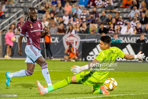Kei Kamara of the Colorado Rapids scores past Jesse Gonzalez of FC Dallas during the second half at Dick's Sporting Goods Park on September 29 2019...