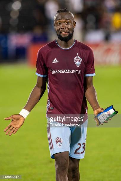Kei Kamara of the Colorado Rapids walks off the pitch after defeating the Montreal Impact at Dick's Sporting Goods Park on August 3 2019 in Commerce...