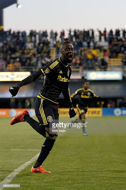 Kei Kamara of the Columbus Crew SC celebrates after Justin Meram of the Columbus Crew SC scored a goal in the first half of the match against the New...