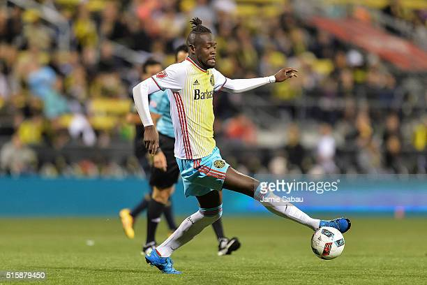 Kei Kamara of the Columbus Crew SC controls the ball against against the Philadelphia Union on March 12 2016 at MAPFRE Stadium in Columbus Ohio