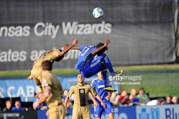 Kei Kamara of the Kansas City Wizards heads the ball during an MLS match against the Philadelphia Union on June 10 2010 at Community America Park in...