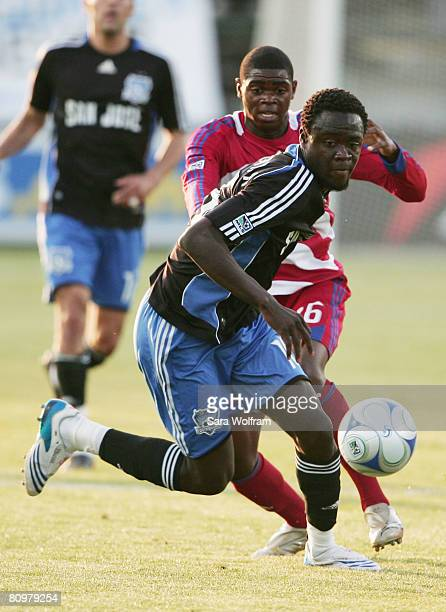 Kei Kamara of the San Jose Earthquakes and Anthony Wallace of FC Dallas fight for the ball during the MLS game at Buck Shaw Stadium on May 3, 2008 in...