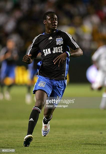 Kei Kamara of the San Jose Earthquakes pursues the ball in the first half during their MLS game against the Los Angeles Galaxy at the Home Depot...