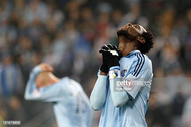 Kei Kamara of the Sporting Kansas City reacts to a missed goad opportunity against the Houston Dynamo in the second half during the MLS Eastern...
