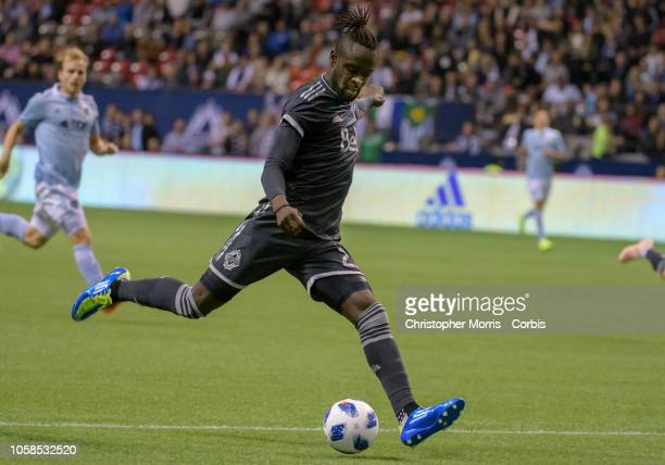 Kei Kamara of the Vancouver Whitecaps against Sporting Kansas City at BC Place on October 17 2018 in Vancouver Canada