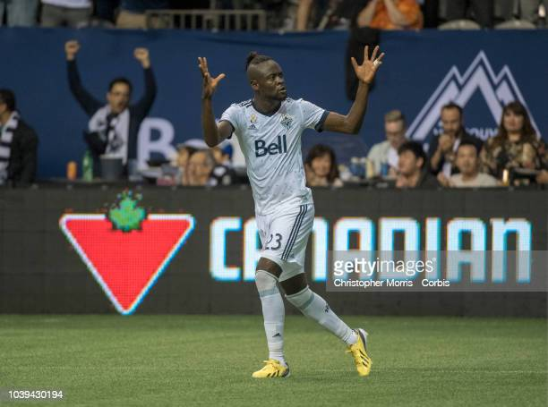 Kei Kamara of the Vancouver Whitecaps celebrates his goal against the Seattle Sounders at BC Place on September 15 2018 in Vancouver Canada