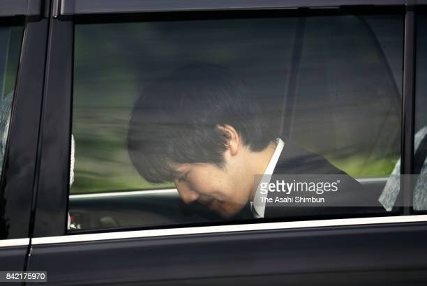 Kei Komuro fiance of Princess Mako of Akishino is seen on departure at the Akasaka Estate for the Imperial Palace on September 3 2017 in Tokyo Japan...