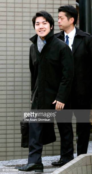 Kei Komuro fiance of Princess Mako of Akishino is seen on departure from his home on February 7 2018 in Yokohama Kanagawa Japan According to the...