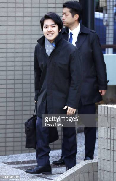 Kei Komuro , fiance of Princess Mako, the eldest granddaughter of Emperor Akihito, leaves his home in Yokohama on Feb. 7 a day after the Imperial...