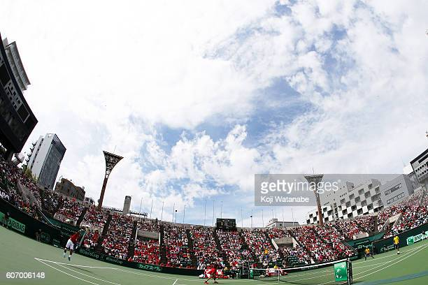 Kei Nishikori and Yuichi Sugita of Japan competes against Sergiy Stakhovsky and Danylo Kalenichenko of Ukraine during the Davis Cup World Group...