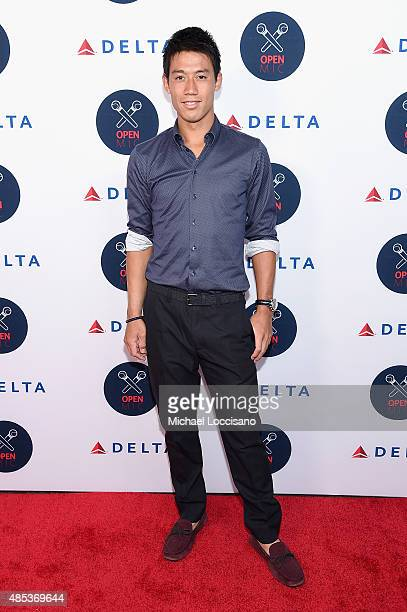 Kei Nishikori attends the 2nd Annual Delta OPEN Mic With Serena Williams at Arena on August 26 2015 in New York City