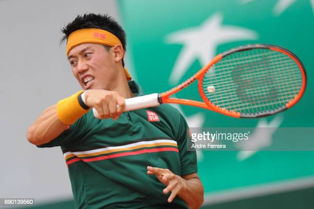 Kei Nishikori during the day 3 of the French Open at Roland Garros on May 30 2017 in Paris France