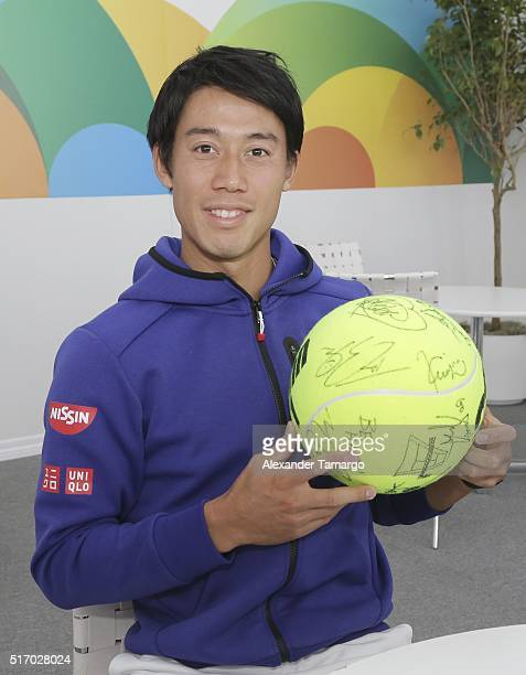Kei Nishikori is seen during the Miami Open Media Day at Crandon Park Tennis Center on March 22 2016 in Key Biscayne Florida