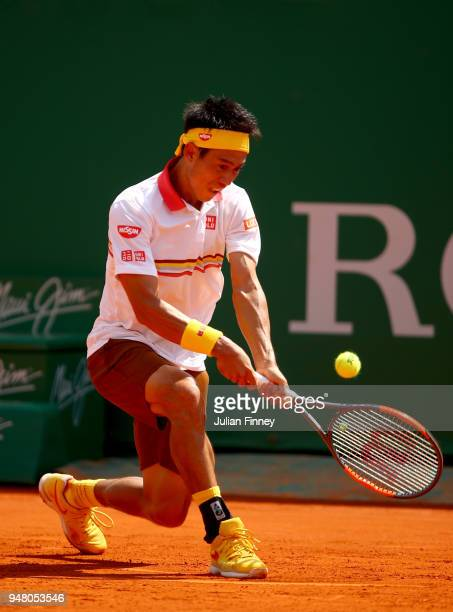 Kei Nishikori od Japan plays a backhand return during his Mens Singles match against Daniil Medvedev of Russia at MonteCarlo Sporting Club on April...
