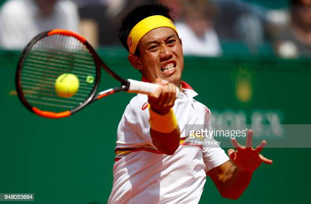 Kei Nishikori od Japan plays a forehand return during his Mens Singles match against Daniil Medvedev of Russia at MonteCarlo Sporting Club on April...