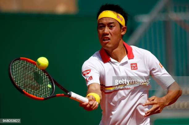 Kei Nishikori od Japan plays a forehand volley during his Mens Singles match against Daniil Medvedev of Russia at MonteCarlo Sporting Club on April...