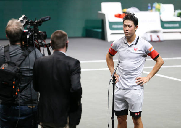 Kei Nishikori of Japan answers on-court questions on day 3 of the 48th ABN AMRO World Tennis Tournament at Rotterdam Ahoy Arena on March 3, 2021 in...