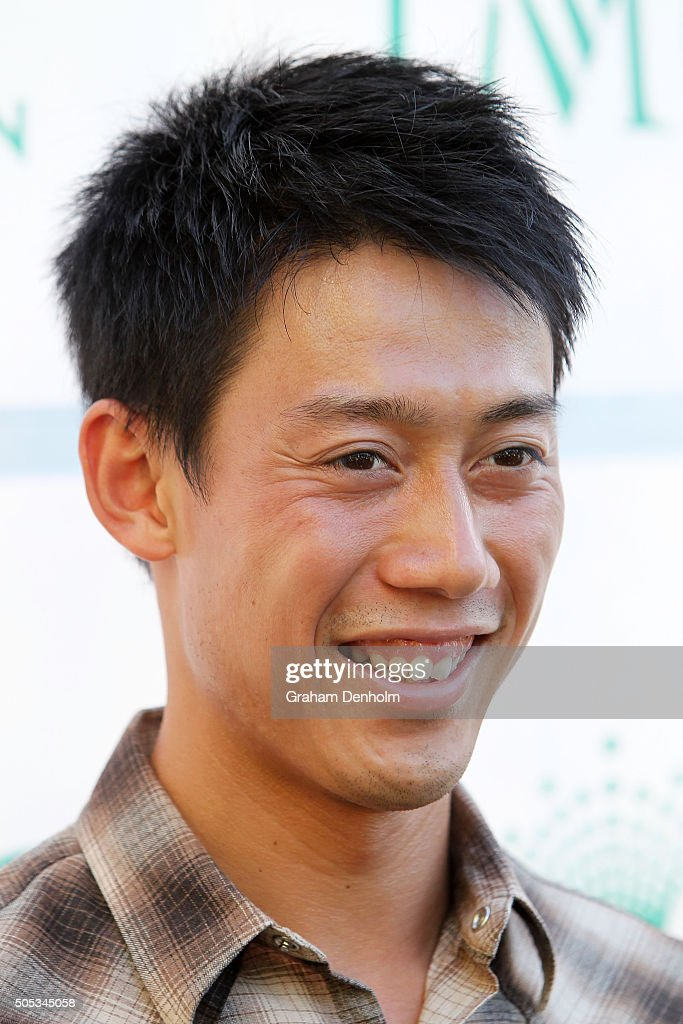 Kei Nishikori of Japan arrives at the 2016 Australian Open party at Crown Entertainment Complex on January 17, 2016 in Melbourne, Australia.