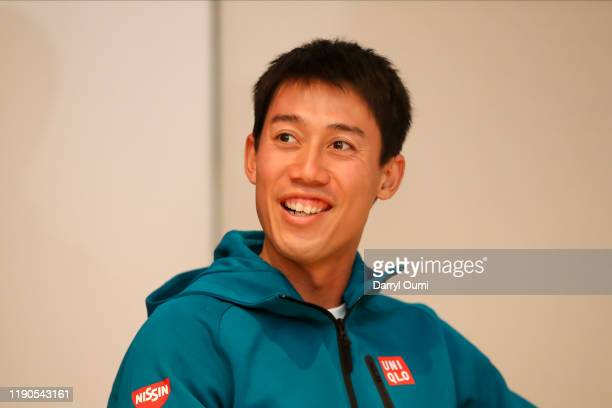 Kei Nishikori of Japan attends and answers question at the press conference before the Hawaii Tennis Open at Ward Village on December 26, 2019 in...