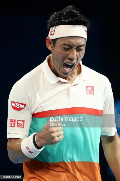 Kei Nishikori of Japan celebartes a point in his match against Grigor Dimitrov of Bulgaria during day five of the 2019 Brisbane International at Pat...